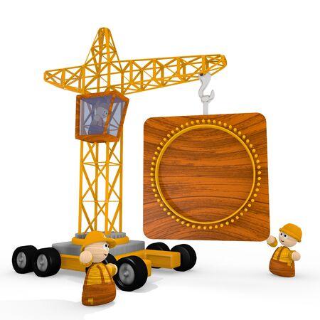 blockade: Dark orange  tiny blockade 3d graphic with tiny circle symbol with a crane Stock Photo