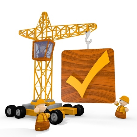 well read: Dark orange  childish construction site 3d graphic with well done check icon with a crane