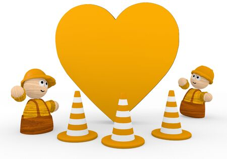 blockade: Dark orange  childish construction site 3d graphic with tiny heart icon  with two cute 3d characters Stock Photo