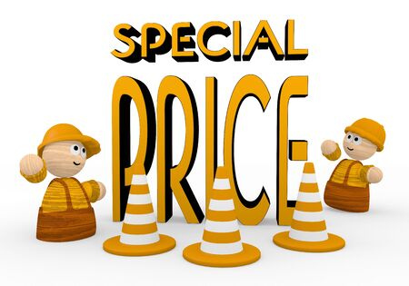 rebate: Dark orange  tiny rebate 3d graphic with childish special price symbol  with two cute 3d characters