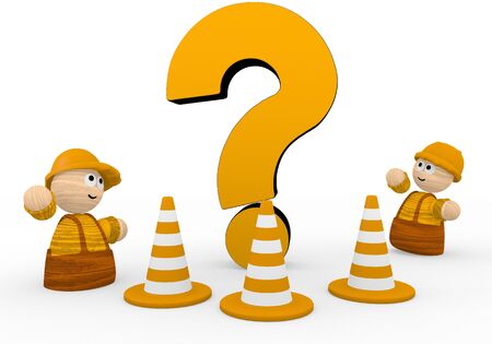 unclear: Dark orange  unclear worker 3d graphic with unresolved question symbol  with two cute 3d characters Stock Photo