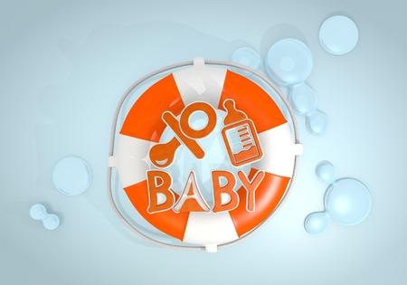 edred�n: Oscuro pastel rojo aislado edred�n gr�fico 3d con el icono de beb� aislado rescatado por un Lifesafer
