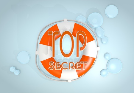 arcane: Dark pastel red  safed sos 3d graphic with isolated top secret sign rescued by a lifesafer