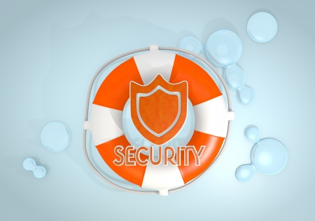 rescued: Dark pastel red  safed protection 3d graphic with protecting security icon rescued by a lifesafer
