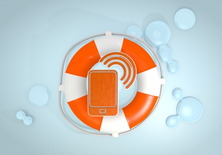 rescued: Dark pastel red  safed wifi 3d graphic with isolated smart phone icon rescued by a lifesafer