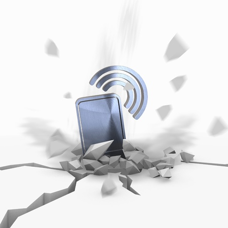 lan: Blue  crashed wire less lan 3d graphic with shattered smart phone symbol fallen from sky