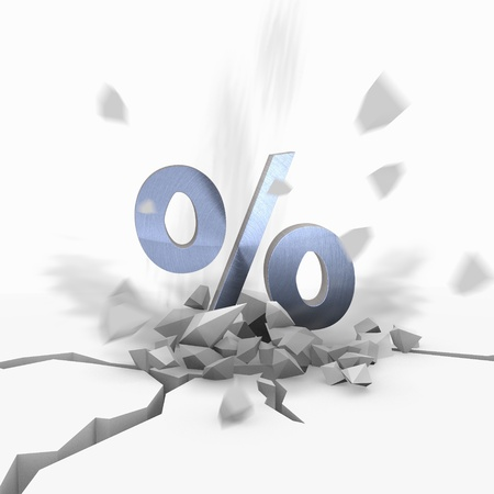 rebate: Blue  strong rebate 3d graphic with crashed percent symbol fallen from sky Stock Photo