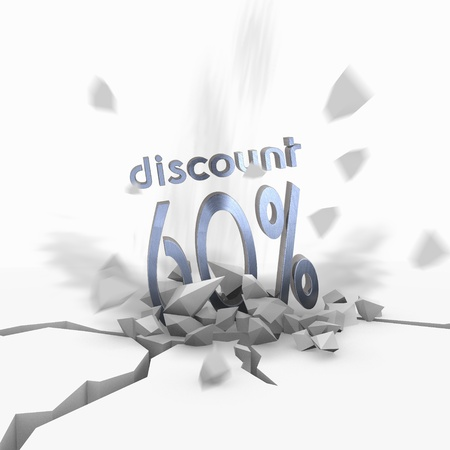 price hit: Blue  isolated special offer 3d graphic with crashed discount icon fallen from sky
