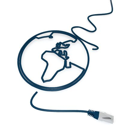 cat5: Smoky black  international map 3d graphic with isolated world icon with cat5 network cable
