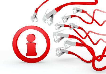 atacaba: Red hackeado 3d conexi�n gr�fica con aislado icono de informaci�n atacado por una red virtual Foto de archivo