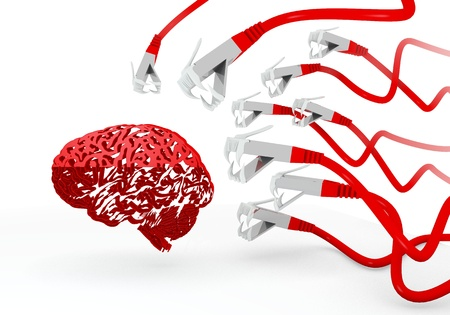 attacked: Red  isolated human 3d graphic with thinking brain icon attacked by a cyber network Stock Photo