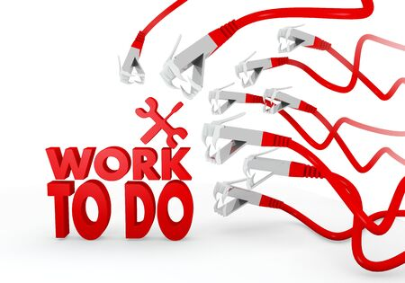 dangerous work: Red  threatened dangerous 3d graphic with threatened work to do icon attacked by a cyber network Stock Photo