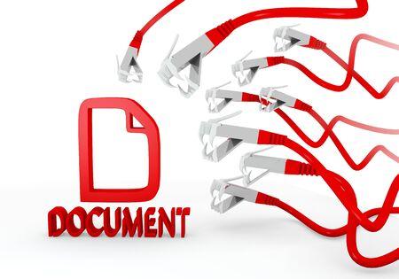 atacaba: Red aislado virus gr�fico 3d con el icono de documento hackeado atacado por una red virtual