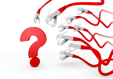 unresolved: Red  unresolved dangerous 3d graphic with unresolved question symbol attacked by a cyber network