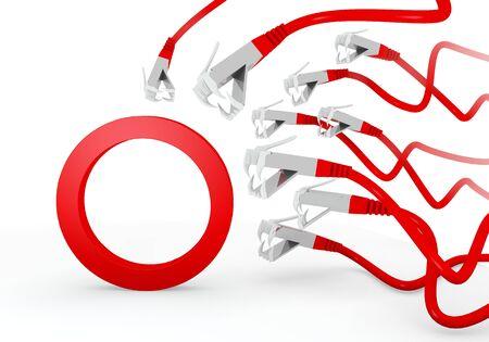 atacaba: Red 3d aislados de conexi�n gr�fica con hackeado s�mbolo del c�rculo atacado por una red virtual