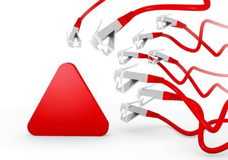 atacaba: Red amenazaba peligro gr�fico 3d con s�mbolo del tri�ngulo aislado atacado por una red virtual Foto de archivo