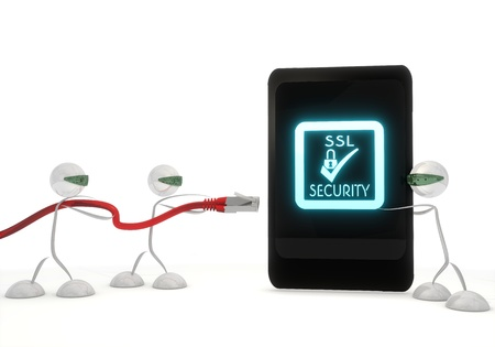 ciphering: Red  stylish communication 3d graphic with isolated SSL symbol on a smart phone with three robots