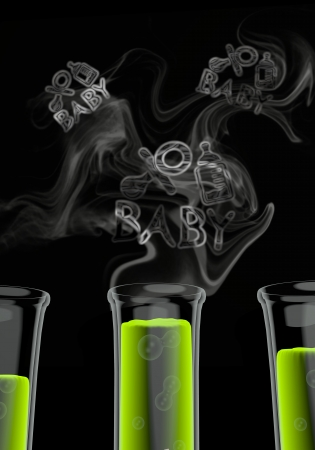 test tube babies: Bright green  experimental pacifier 3d graphic with scientific baby icon formed by smoke Stock Photo