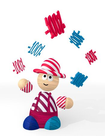 price reduction: White  funny price reduction 3d graphic with cute discount sign juggled by a clown Stock Photo