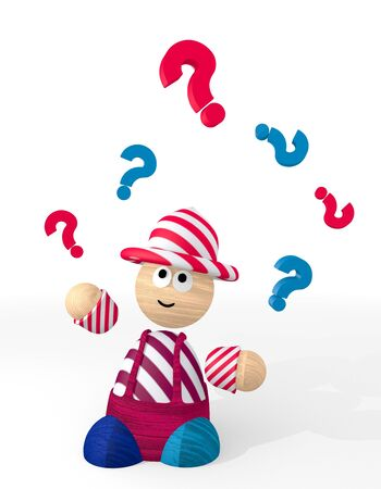 unclear: White  undissolved ask 3d graphic with isolated question symbol juggled by a clown