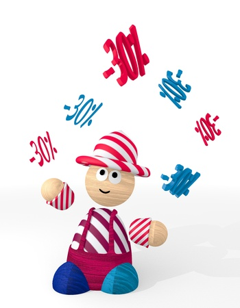 White  isolated offer 3d graphic with funny discount symbol juggled by a clown photo