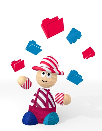 orderly: White  sorted office 3d graphic with funny folder icon juggled by a clown