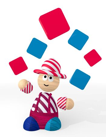 White  happy circus 3d graphic with filled rectangle symbol juggled by a clown photo