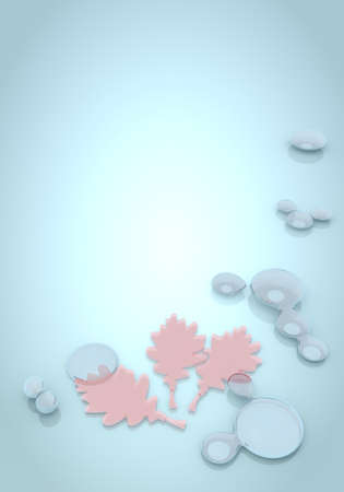 autumnn: Dark pastel blue  noble water 3d graphic with buff oak leaves icon  Stock Photo