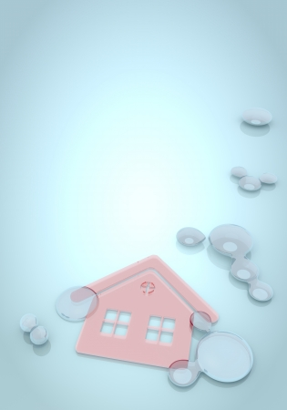 nifty: Dark pastel blue  nifty effect 3d graphic with abstract house on blue background with water drops  Stock Photo