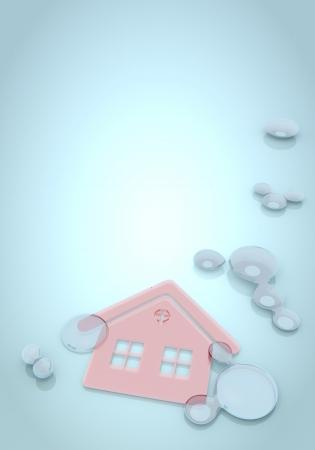 nifty: Donker pastel blauw nifty effect 3D-afbeelding met abstracte huis op blauwe achtergrond met water druppels Stockfoto