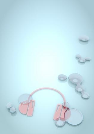 Dark pastel blue  buff blend 3d graphic with bright headphones symbol  photo