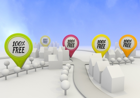 Electric lime  100 percent free discount 3d graphic with navigating free sign on four map marker photo