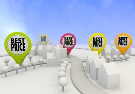price reduction: Electric lime  light price reduction 3d graphic with icon best price sign on four map marker Stock Photo