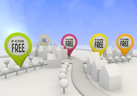 Electric lime  best price special offer 3d graphic with little free sign on four map marker photo