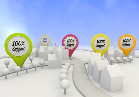 Electric lime  little 100 percent support 3d graphic with nice support sign on four map marker photo