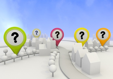Electric lime  navigating simple 3d graphic with icon question sign on four map marker