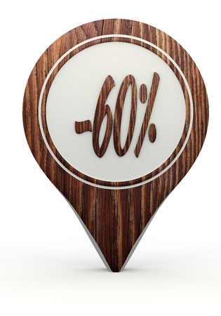 Pastel gray  sustainable reduction 3d graphic with icon discount sign on a set of wooden  markers photo