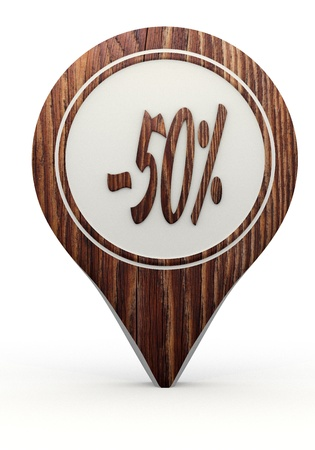 Pastel gray  natural offer 3d graphic with symbol discount sign on a set of wooden  markers photo
