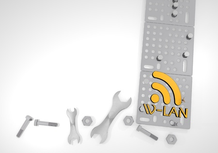 wlan: Dark orange  isolated machine 3d graphic with beautiful w-lan icon on white mechanical background