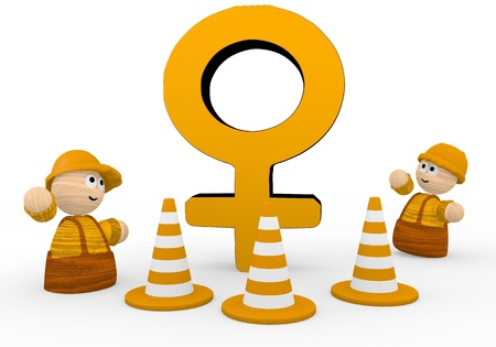 blockade: Dark orange  tiny construction site 3d graphic with cute woman icon  with two cute 3d characters