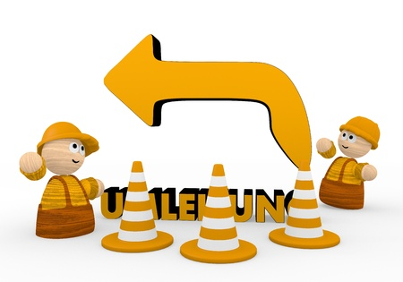 routing: Dark orange  turning route deviation 3d graphic with cute alternative routing symbol  with two cute 3d characters