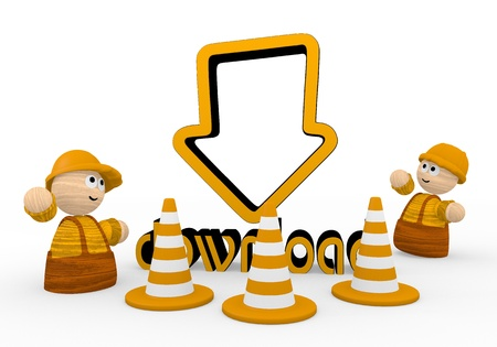 blockade: Dark orange  cute blockade 3d graphic with cute download symbol  with two cute 3d characters