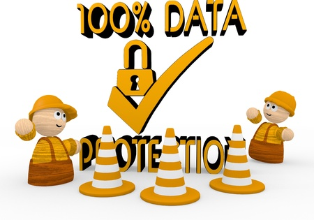Dark orange  tiny construction site 3d graphic with tiny data protection symbol  with two cute 3d characters Imagens