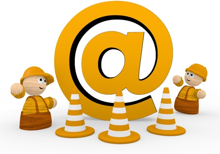 develope: Dark orange  cute barrier 3d graphic with connecting email icon  with two cute 3d characters Stock Photo