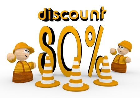 develope: Dark orange  cute barrier 3d graphic with childish discount symbol  with two cute 3d characters