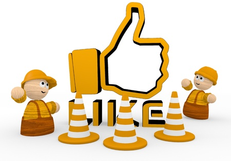 building a social network: Dark orange  childish builder 3d graphic with childish like symbol  with two cute 3d characters Stock Photo