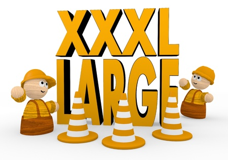 xl: Dark orange  large worker 3d graphic with cute XL symbol  with two cute 3d characters Stock Photo