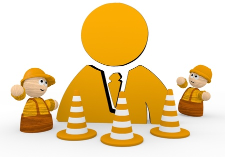 blockade: Dark orange  tiny construct 3d graphic with childish business man icon  with two cute 3d characters