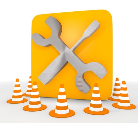 shutoff: Red  repairing blocakde 3d graphic with isolated mechanic icon  Stock Photo