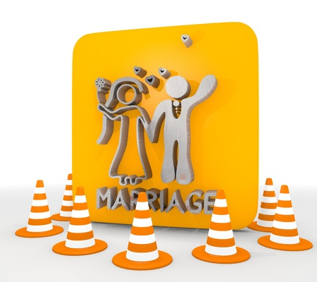 shutoff: Red  metallic silhouette 3d graphic with metallic marriage icon  Stock Photo